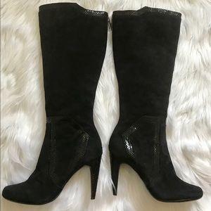 Calvin Klein Black Suede Knee High Boots